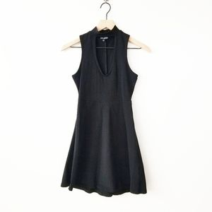 Express Mock Neck Keyhole Black Dress